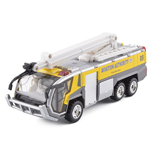 Car Toys Rescue Airport Fire Engine Truck Model Cars Toys for Kids (Yellow) -