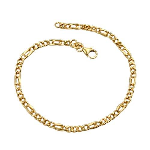 Bracelet, Figarokette 19cm, 9Kt GOLD