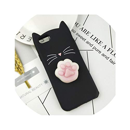 3D Cute Japan Glitter Bearded Cat Case for iPhone 4 4S Se 5 5S 5C 6 6S 7 8 Plus X Xr Xs Max Squishy Cat Cover Mobile Phone Bags,Huxu Black Foot,for iPhone 7 Plus (4 3d Pizza For Cases Iphone)