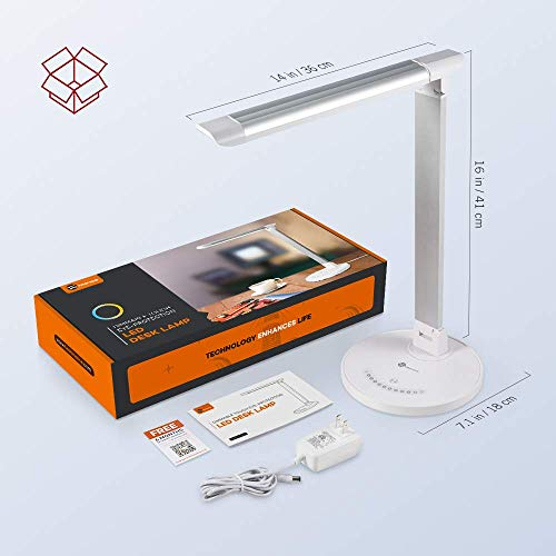 TaoTronics LED Desk Lamp, Eye-caring Table Lamps, Dimmable Office Lamp with USB Charging Port, 5 Lighting Modes with 7 Brightness Levels, Touch Control, White, 12W, Philips EnabLED Licensing Program by TaoTronics (Image #6)
