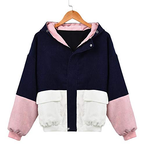 Rambling New Women Teen Hooded Color Block Corduroy Jacket Long Sleeve Oversized Coat -