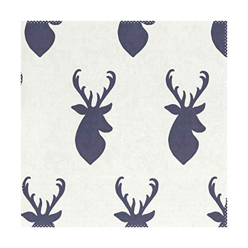 LoveBea Placemats Navy Deer Square Place Mats for Dining Washable Polyester Kitchen Kids Table Coffee Mats Set of 4 (Square Deer Table Coffee)