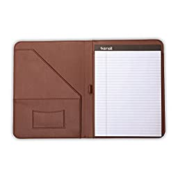 "Samsill Contrast Stitch Leather Padfolio – Lightweight & Stylish Business Portfolio for Men & Women – Resume Portfolio, 8.5"" x 11"" Writing Pad – Brown/Tan"