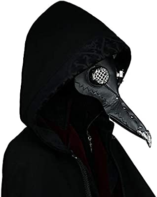 Gothic Plague Doctor Bird Mask for Men PU Leather Steampunk Retro Mask Halloween Cosplay Costume