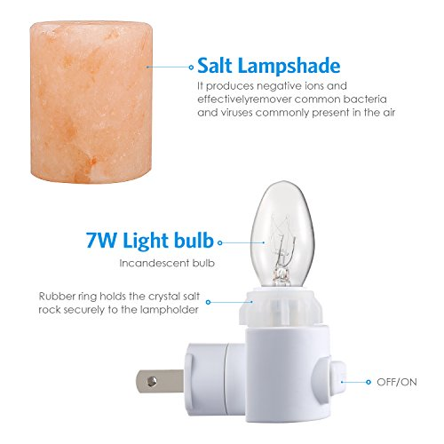 AMIR Salt Lamp, Natural Himalayan Crystal Salt Light with 2 Bulbs (1 Colorful Bulb), 11.2 Ounces Mini Hand Carved Night Light with UL-Approved Wall Plug for Air Purifying, Lighting and Decoration by AMIR (Image #4)'