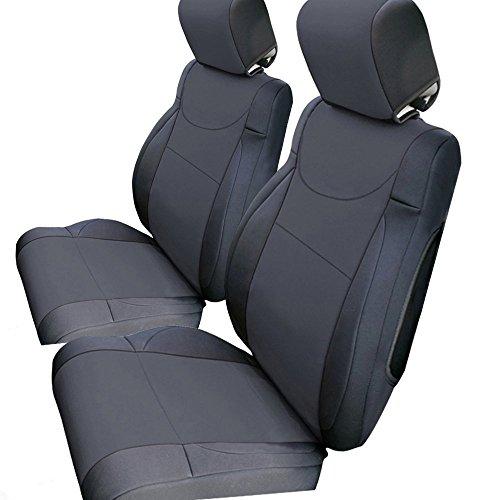 Leader Accessories Front Car Seat Covers Custom Fit for Jeep Wrangler 2007-2010 JK 4 Dr Neoprene Black