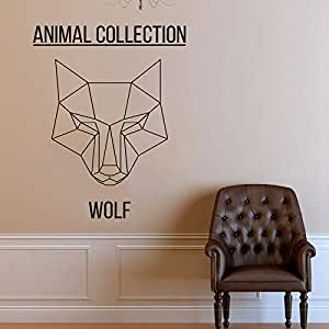 Apliques Cabeza de lobo poligonal Tatuajes de pared Animales abstractos Anime Wall Vinyl Sticker Scandi Minimalistic Monochromatic Art Decor xcm: Amazon.es: Bebé