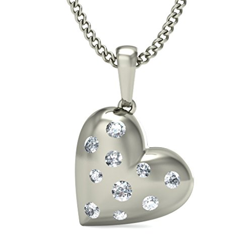 18 K Or Blanc 0,14 CT TW Round-cut-diamond (IJ | SI) Amour Pendentif