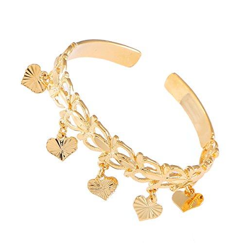 - African Ethiopian Bangle For Baby KIds Yellow Gold Dubai Heart Arab Bangle (Gold 3)