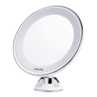 Spaire Lighted Vanity Makeup Mirror 7X Magnifying LED Bathroom Mirror with Locking Suction 360 Degree Swivel Rotation Battery Operated for bathroom vanity, glass door