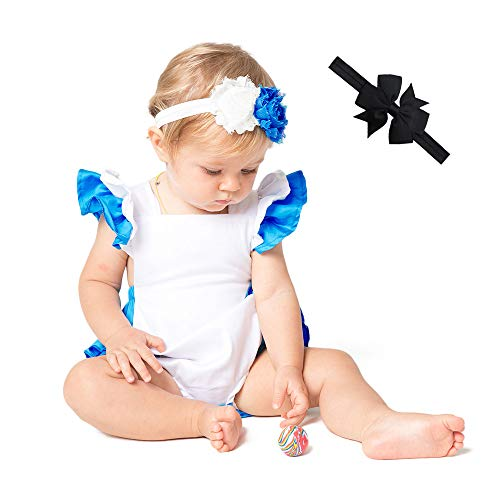 JiaDuo Baby Girls Costume Alice Romper Infant Birthday Outfit with 2pc Headband 0-3M -