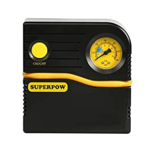Superpow 2018 Portable Tire Inflator, Auto Air Compressor Pump 120PSI 12V DC 4 Mins Filled Quickly with Gas for Tire Apply for Car Truck Bicycle RV and Other Inflatables
