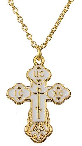 Religious Christian Orthodox Bud Cross Jesus Christ Charm Pendant Necklace Jewelry for Women Mens (white)