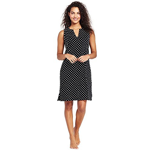 Lands' End Women's Cotton Jersey Tunic Dress Cover-up, M, Black (Dot Cover Up)