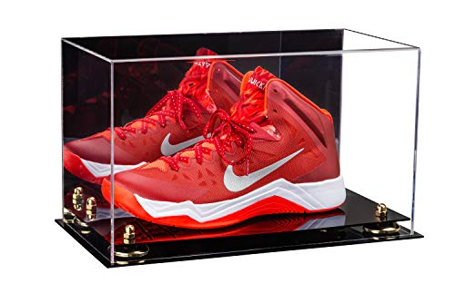 Deluxe Acrylic Large Shoe Display Case for Basketball Shoe Soccer Cleat Football Cleat with Gold Risers and Mirror (A013-GR)