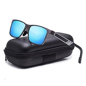 Zealme Polarized Driving Sunglassesfor Men Women HD Vision Anti Glare Lens UV 400 UVA UVB Glasses Lightweight Durable Metal Frame for Hiking Bike Cycling (Blue) A6560