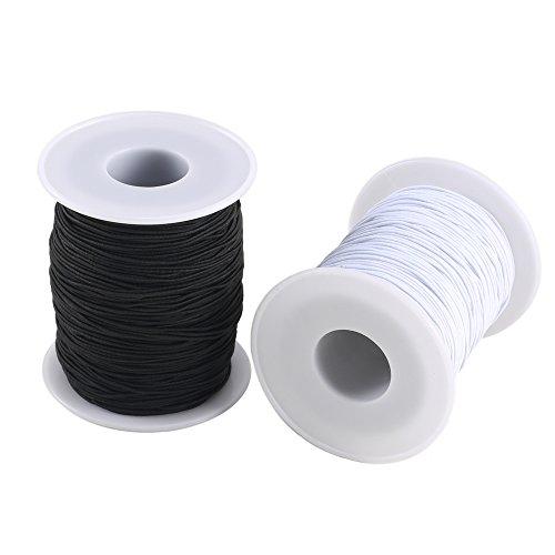 FOGAWA 0.8 mm Elastic Cord 2 Roll Beading Cord Stretch String Fabric Craft Nylon Elastic Rope Cord for Craft Jewelry Bracelet White and Black (100 m) Black Nylon Strap Jewelry