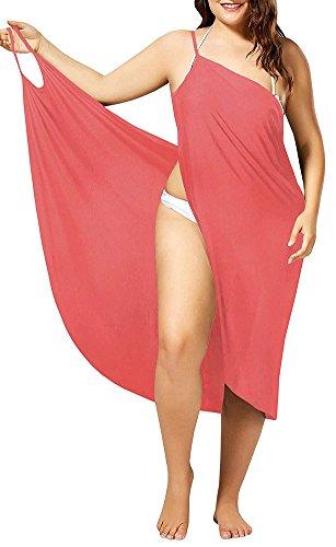 Womens Cover Ups Beach Spaghetti Strap Sarongs Beach Backless Wraps Pink 3XL