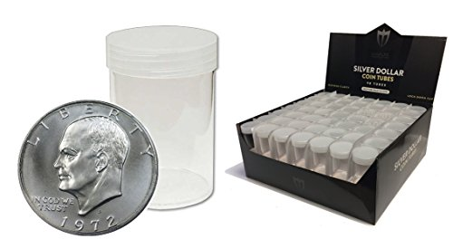 ((50) Individual NEW Round Ultra Clear PREMIUM Plastic Eagle/ Ike / Morgan Large Silver DOLLAR Coin Tubes with Screw On Caps by Max Pro Coin Supplies)
