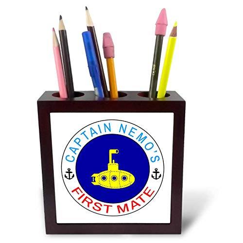 3dRose Alexis Design - Beach, Sea, Surf - Yellow Color Submarine, Blue Circle. Text Captain Nemos First Mate - 5 inch Tile Pen Holder (First Mate Satin)