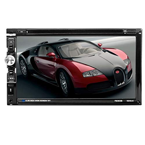 le DIN Steering Wheel Control Car Stereo DVD Car Radio Bluetooth Player Multimedia Radio Entertainment Support USB/TF FM Aux Input TV with HD Rear View Camera (6063B) ()