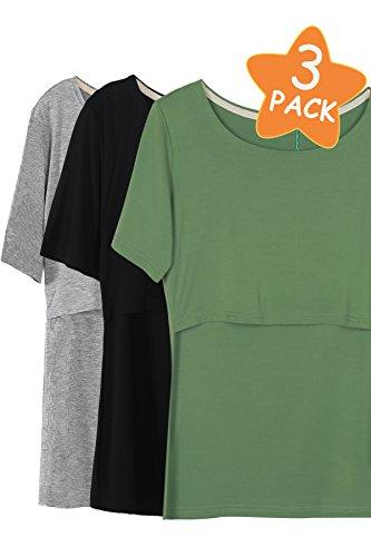Smallshow 3 Pcs Maternity Nursing T-Shirt Nursing Tops,Green-Black-Grey,Medium -