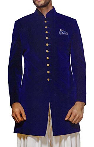 INMONARCH Mens Blue Velvet 3 Pc Indowestern 10 Button IN521S54 54 Short Blue by INMONARCH