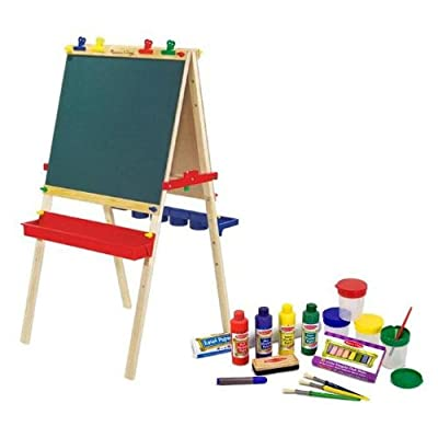 Melissa & Doug Deluxe Standing Easel & Companion Supply Set Bundle