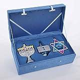 3 Noble Gems Glass Hanukkah Chanukah Menorah, Dreidel & Star of David Ornaments