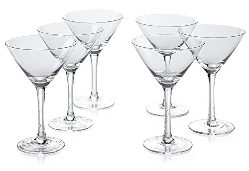 Classic Martini Glasses -Set of 6 (10 Ounce) - Perfect Cocktail Glasses with Stem by Light In The Dark (Image #1)