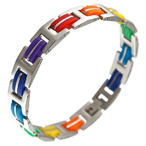 LGBT Pride Bracelet 316L Stainless Steel Unisex Bracelet, Rainbow Gay or Lesbian (7.5 Inch) (Gay Jewelry)