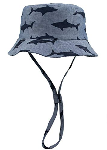 (ERISO Toddler Dinosaur Hat Sun Protection Animal Bucket with Chin Strap (4-8 Years, Gray Shark))