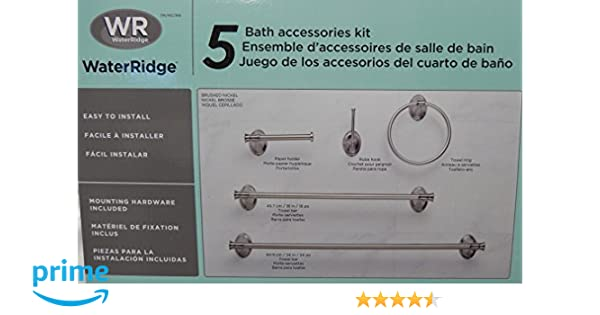 Amazon.com: Waterridge 5 Piece Set Bathroom Accessories Kit Brushed Nickel Finish: Home & Kitchen