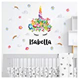 Rainbow Unicorn Wall Sticker - Wall Stickers for Bedrooms for Girls - Unicorn Crown with 'Personalised Name' and Bonus Flowers - Clouds - Rainbows - Size Large