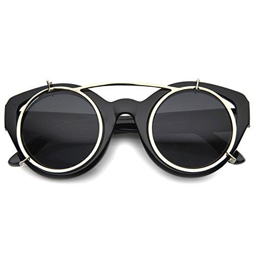 zeroUV - Retro Steampunk Clip On Floating Lens Round Cat Eye Sunglasses 46mm (Black / - Eye Rounded Sunglasses Cat