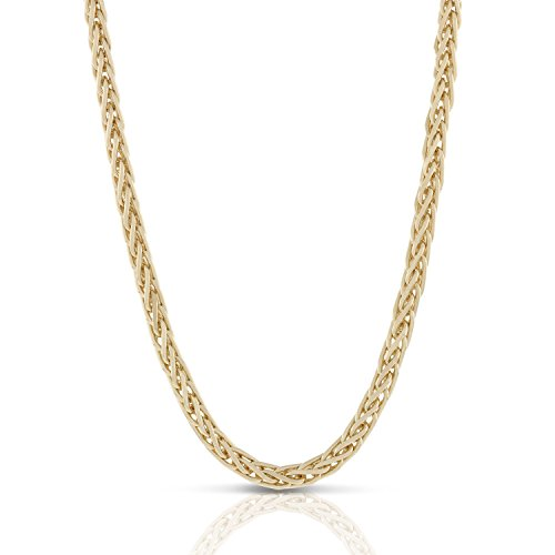 - 18K Yellow Gold Wheat/Spiga Chain Necklace 2.8 mm thick - Made in Italy - Lobster Lock-22