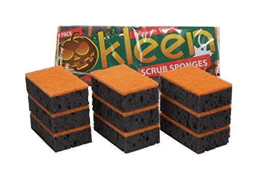Dish Sponges, Large Pack of 18. Made in Europe. Size 4.3x2.8x1.4 Inch. Odorless, Non Cellulose Scrubber. Cute: Black and Orange. Reusable for Household Cleaning. Travel Size, Non Scratch, Multi Use