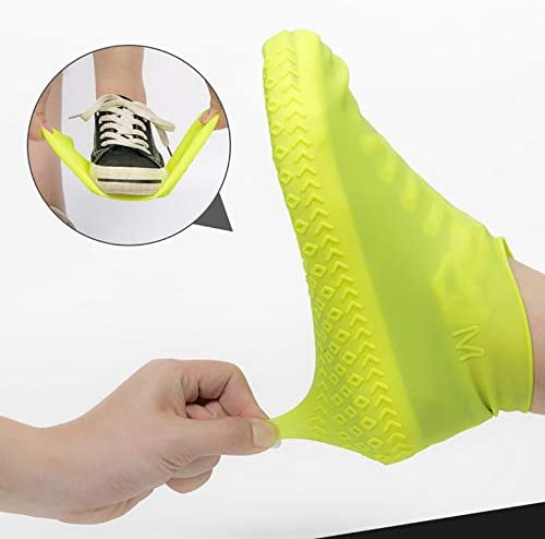 Black-Large Reusable Silicone Boot Waterproof Rain Socks daisyhping Waterproof Shoe Cover Silicone Rubber Shoe Protectors Rain Silicone Protector for Outdoor//Indoor//Walking Non Slip Stretchable