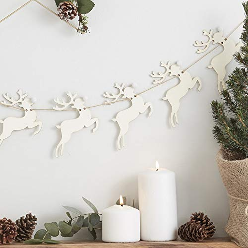 Ginger Ray Festive Christmas Wooden Reindeer Bunting Party Decorations Banner Christmas Tree Fun - 1.5 Metre - Rustic Christmas