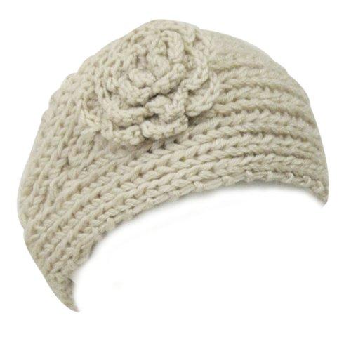 Wrapables Hand Knit Floral Headband, Khaki