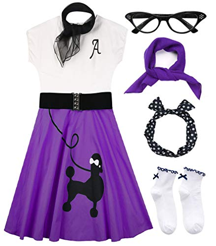 Hofolio 1950s Women Poodle Skirt Scarf Sock Costume Set, Purple, XX-Large