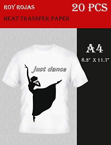 ROY-ROJAS A4 Iron on transfer paper,T-shirt transfer paper Compatible with  all Inkjet Printers, Heat Transfer Paper for White or Light- Colored Fabric