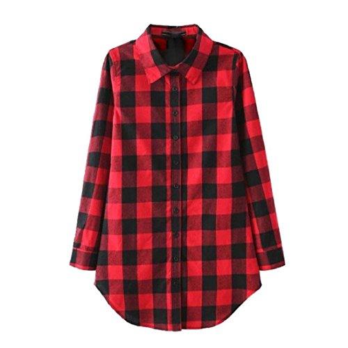 Manche Longue Femmes Amison Chemise Top Blouse Coton Lady Dissous Plaid Rouge Casual gYBgd7nqX