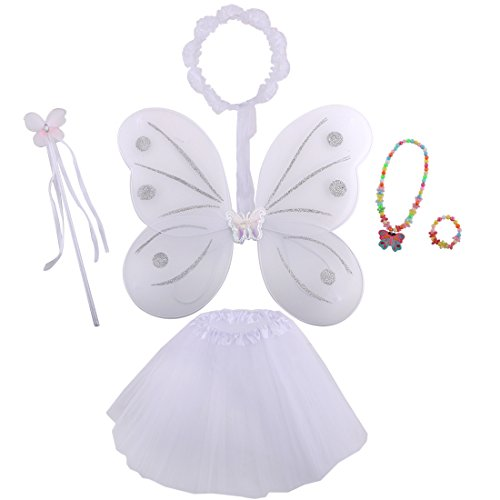 [kilofly Princess Party Favor Jewelry Fairy Costume Dress Up Role Play Value Pack] (White Fairy Costumes)