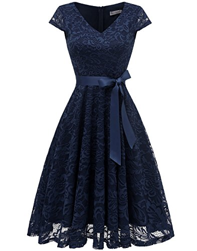 BeryLove Women's Floral Lace Short Bridesmaid Dress Cap Sleeve Cocktail Party Dress BLP7006NavyXS