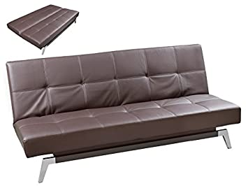 Pons Collection - Sofá cama de polipiel marrón: Amazon.es: Hogar