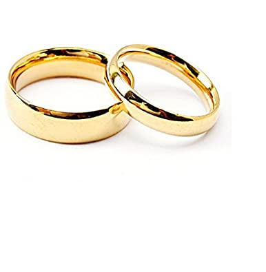 Girlz Stainless Steel Golden Couple Matching Wedding Rings Men