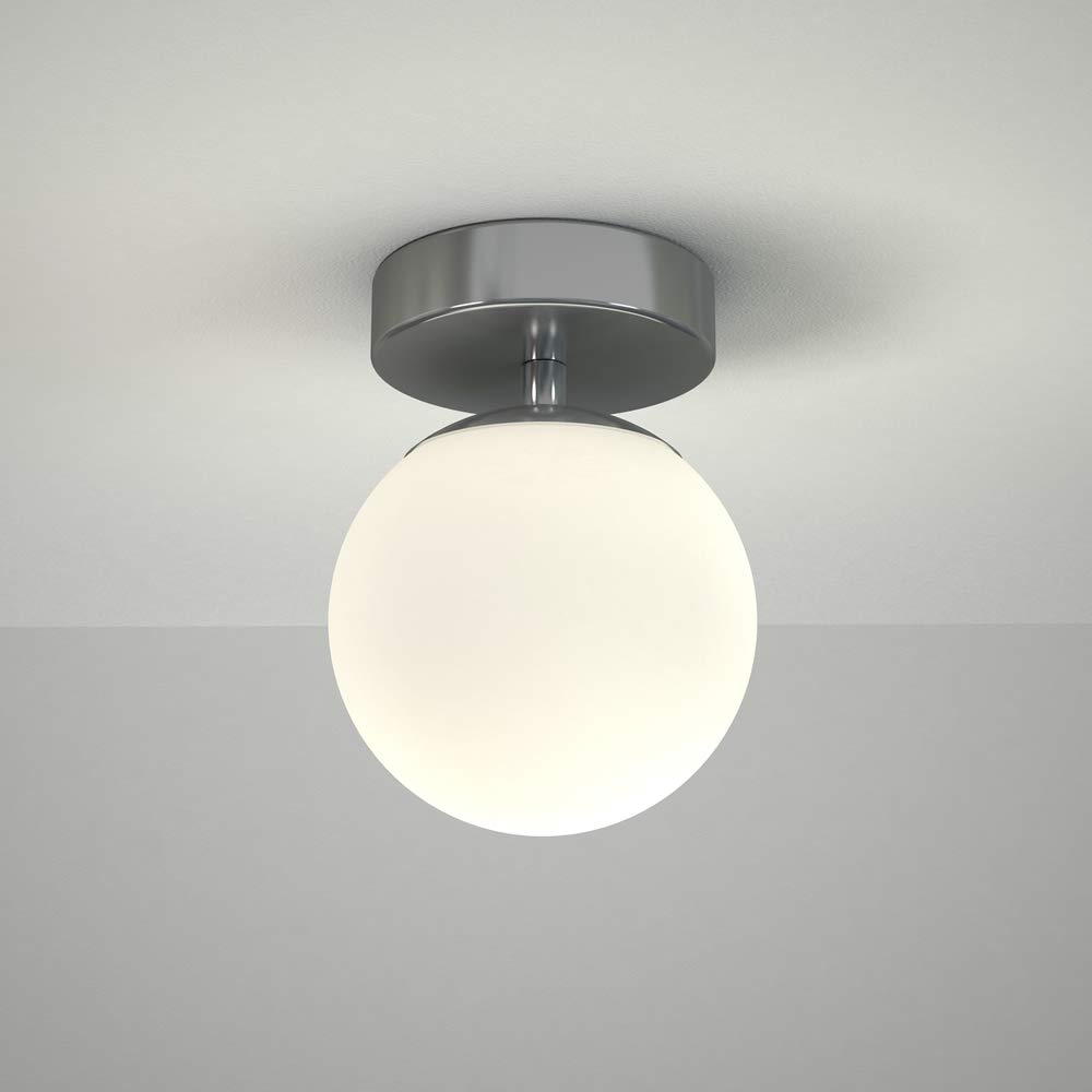Milano Lune 6W LED Round Globe Chrome Bathroom Ceiling or Wall Light - IP44 Waterproof - Warm White (3000K) with Frosted Opal Glass Diffuser