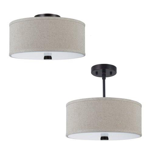 Sea Gull Lighting 77262-710 Dayna Shade Pendants 2-Light Flush/Semi-Flush Convertible in Burnt ()