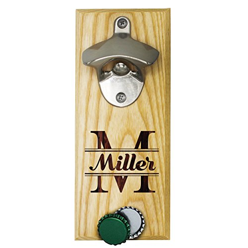 (Personalized Wall Mount Bottle Opener Magnet Cap Catcher - Custom Engraved Groomsmen Wall Mounted Magnetic Gift (Maple, Original))